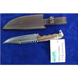 "Damascus Survival Bowie, 7"" Blade, Walnut Handle, Sheath"
