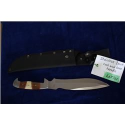 "Stainless Bowie, Ash 440 Steel, 8"" Blade, Oak & Bone Handle, Sheath"