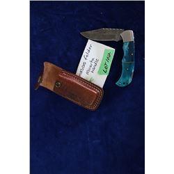 "Damascus Lockback Folding Knife, 3 1/2"" Blade, Micarta Handle, Sheath"
