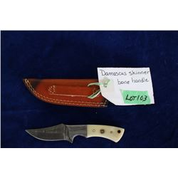 "Damascus Skinner, Bone Handle, 3"" Blade, Sheath"