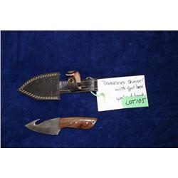 "Damascus Skinner, 3"" Blade w/Gut Hook, Walnut Handle, Sheath"