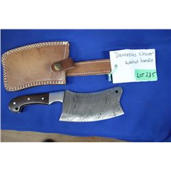 "Damascus Clever (5 ½"" Blade) with Walnut Handle; Sheath"