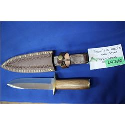 "Bowie Knife, Stainless Ash 440 Steel 7"" Blade, Oak & Brass Handle, Sheath"