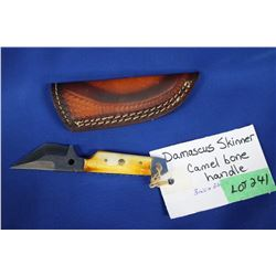 "Damascus Skinner, 3"" Blade, Camel Bone Handle, Sheath"