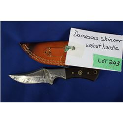"Damascus Skinner, 3"" Blade, with Walnut Handle, Sheath"