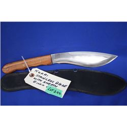 "Kukri Knife, 8"" Blade, Stainless, Wood Handle, Sheath"