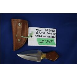 "Mini Dagger, Stainless, 3"" Blade, Walnut Handle, Sheath"