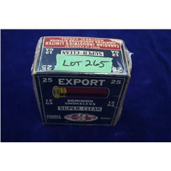 Full Box of 25 Export Dominion Smokeless Super Clean, Double Chilled Shot, 12 ga., #6 Shot **Rare 2