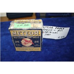 "Box with 25 Meteor, 12 ga., 2 3/4"", 7 ½ Shot, Standard Trap Load, 1941"