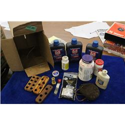 3 Containers of Schuetzen Black Powder (Unopened); Field Swatches & Black Powder Accessories
