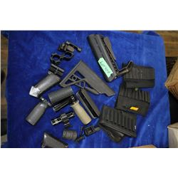 Box with Miscellaneous:  Ammo Carriers, Flashlights, Grips & Rear Stocks