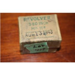 Box with 380, Revolver 1943 (unopened) & a Box of 9mm Metak (14 rnds)