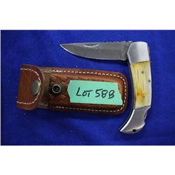 "Damascus Lockback Knife, 3"" Blade; Camel Bone Handle & a Sheath"