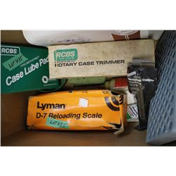 Box with a Case Lube Pad, a Loading Scale, a Rtoary Case Trimmer, a Caliper & a Load Block
