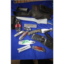 Bag with 10 Knives, Sheaths & Multi-Tools