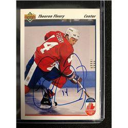 THEO FLEURY SIGNED 1991-92 UPPER DECK HOCKEY CARD