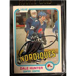 Dale Hunter Signed Rookie O-Pee-Chee Hockey Card #277