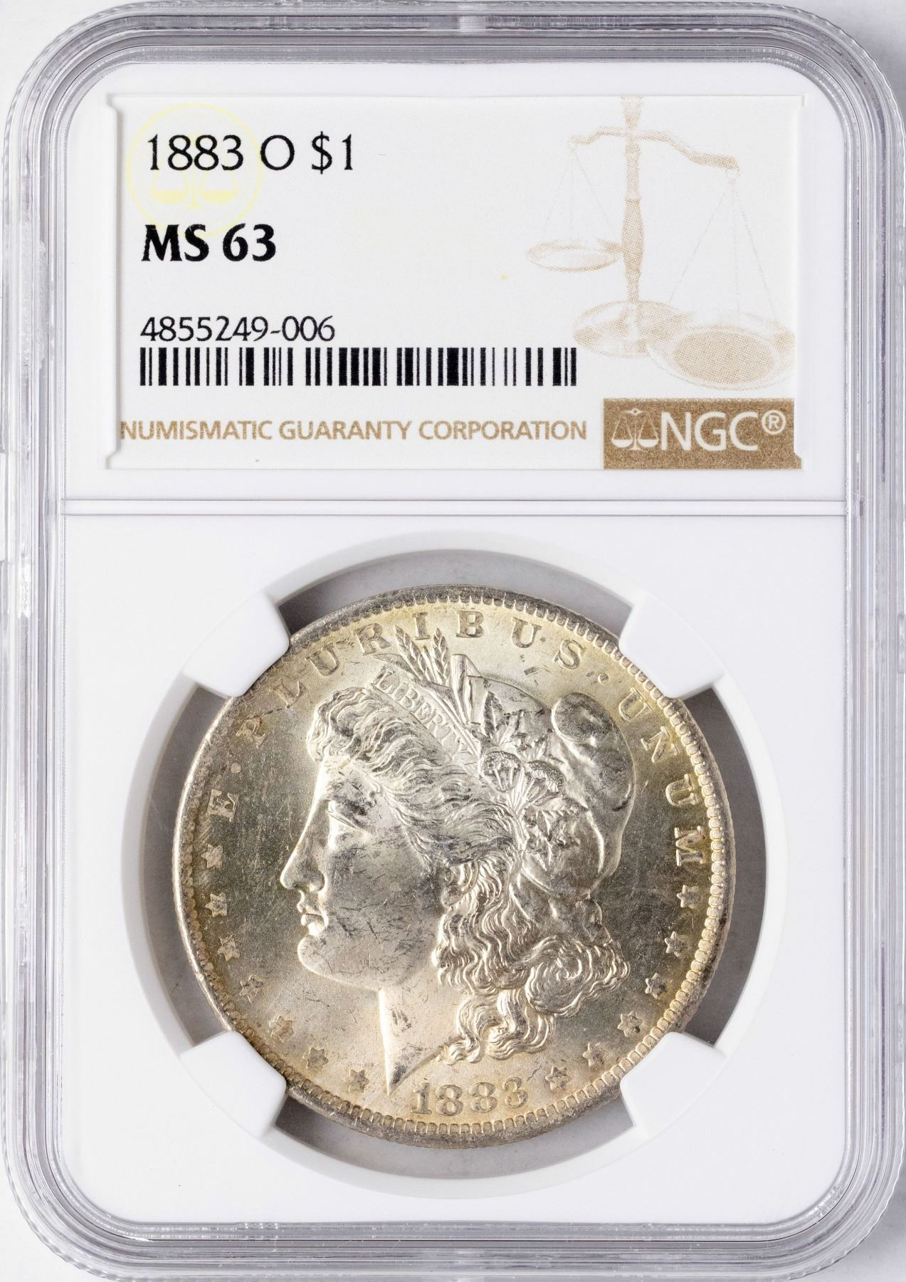 1883-O US Morgan Silver Dollar $1 NGC MS63