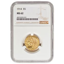 1914 $5 Indian Head Half Eagle Gold Coin NGC MS62