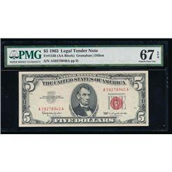 1963 $5 Legal Tender Note PMG 67EPQ