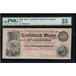 1864 $500 Confederate States of America Note PMG 35