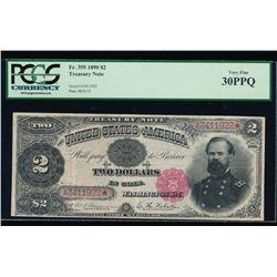 1890 $2 Treasury Note PCGS 30PPQ