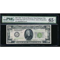 1934 $20 Kansas City Federal Reserve Note PMG 65EPQ