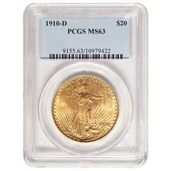 1910-D $20 St Gaudens Double Eagle Gold Coin PCGS MS63