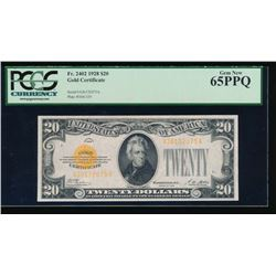 1928 $20 Gold Certificate PCGS 65PPQ