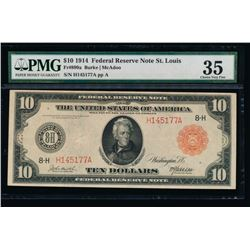 1914 $10 Red Seal Saint Louis Federal Reserve Note PMG 35
