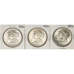 Lot of (3) 1886 $1 Morgan Silver Dollar Coins