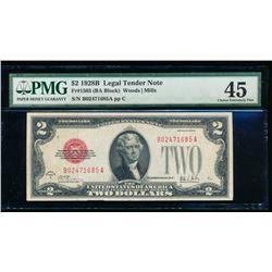 1928B $2 Legal Tender Note PMG 45