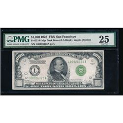 1928 $1000 San Francisco Federal Reserve Note PMG 25