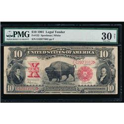 1901 $10 Bison Legal Tender Note PMG 30NET