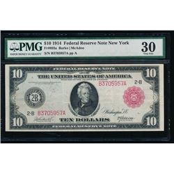 1914 $10 Res Seal New York Federal Reserve Note PMG 30