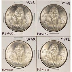 Lot of (4) 1978 Mexico Cien Pesos Silver Coins
