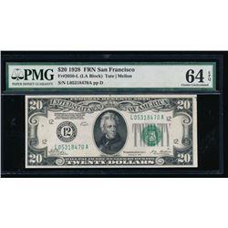 1928 $20 San Francisco Federal Reserve Note PMG 64EPQ