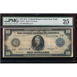 1914 $10 New York Federal Reserve Star Note PMG 25