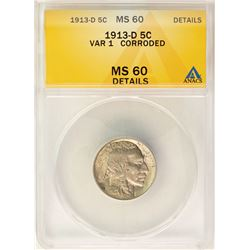 1913-D Variety 1 Buffalo Nickel Coin ANACS MS60 Details