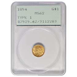 1854 $1 Liberty Head Gold Coin PCGS MS62