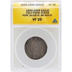 1550-1555 Italy-Papal States Giulio Pope Julius III Coin ANACS VF25