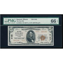 1929 $5 Rantoul National Bank Note PMG 66EPQ