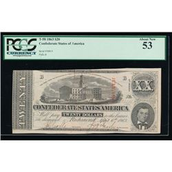 1863 $20 Confederate States of America Note PCGS 53