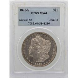 1878-S $1 Morgan Silver Dollar Coin PCGS MS64