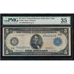 1914 $5 New York Federal Reserve Note PMG 35