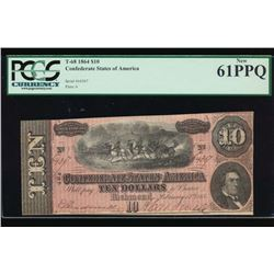 1864 $10 Confederate States of America Note PCGS 61PPQ