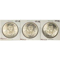 Lot of (3) 1978 Mexico Cien Pesos Silver Coins