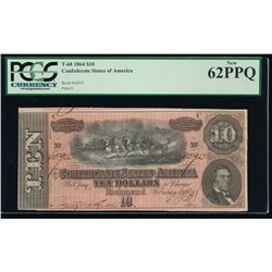 1864 $10 Confederate States of America Note PCGS 62PPQ
