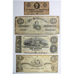 LOT OF FOUR DIFFERENT CONFEDERATE NOTES