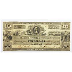 1836 $10 FRANKLIN BANK BOSTON